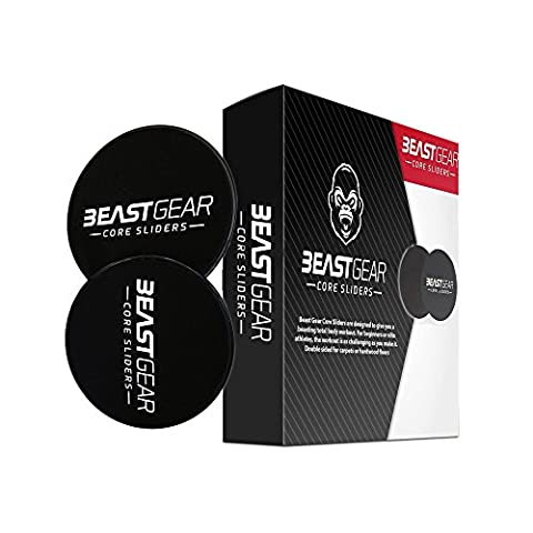 Core Sliders by Beast Gear - Double Sided Gliding Abdominal Exercise Discs for Carpet and Hard Floors (Black)