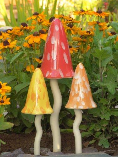 Potting Shed Fliegenpilz Summer Witchety, Keramik, 1 x 30 cm, 2 x 26 cm