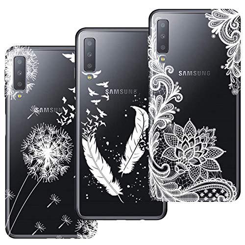 HopMore 3X Hüllen Silikon Handyhüllen für Samsung Galaxy A7 2018 Hülle Transparent Schutzhülle Durchsichtig Elegant Muster Handyhülle Ultra Dünn Silikonhülle Slim Bumper Cases Cover - Design 1