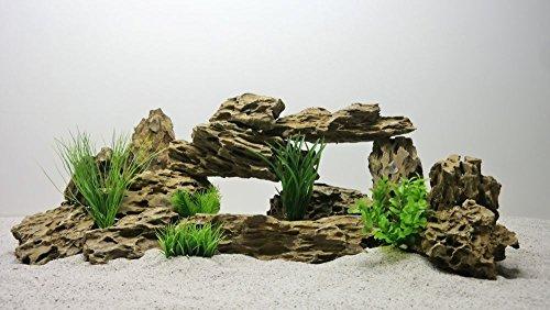 AQUARISTIKWELT24 Pro STÜCK 1-2 Kg Nr.63 Aquarium Deko Natursteine in Wüstensand Optik Dekoration Steinrückwand Steine Felsen