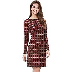 Allegra K Vestido De Tela Escocesa De Trabajo De Negocios Mangas Largas Para Mujeres - Negro y Rojo/XL (US 18), XL (EU 48)