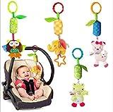 LZHA 4 Packungen Baby-Weiches Hängendes Geklapper-Spielzeug-Kind-Spaziergänger-Autositz-Krippen-Pram Hängende Bell-Marionetten-Spielwaren Nette Kinderplüsch-Tier-Wind-Glockenspiel
