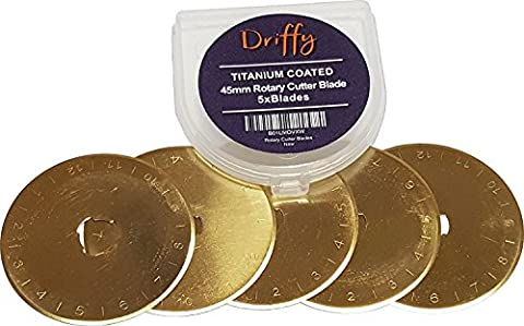Rotary Cutter Blades 45mm Titanium 5-PACK for OLFA, Fiskars, DAFA and Truecut