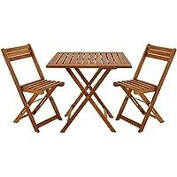 Deuba 101168 Table Chair Wooden Balcony Set - 60x60cm