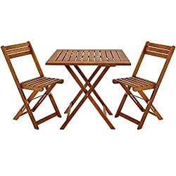 Deuba Balcony Table Chair Set FSC®-Certified Acacia Wood Patio Conservatory Outdoor