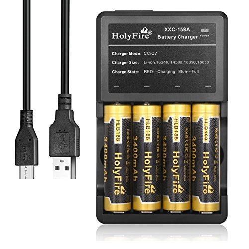 Holyfire 3,7V 18650 3400mAh Akku und 4-Slots Ladegerät, Wiederaufladbare Li-ion 18650 Batterie Geschützt - Anwendbar für Taschenlampe oder Stirnlampe LED, Nicht für E-Zig (4 x Akkus und 1 x Ladegerät)