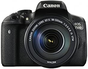 Canon EOS 750D SLR-Digitalkamera (24 Megapixel, 7,7 cm (3,0 Zoll) Display, Full-HD, APS-C CMOS-Sensor, Wifi, NFC) Kit inkl. EF-S 18-135 mm is STM Objektiv Schwarz
