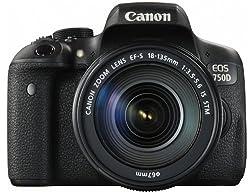Canon EOS 750D SLR-Digitalkamera (24 MP, 7,7cm (3 Zoll) Display, Full-HD, APS-CCMOS-Sensor, WiFi, NFC, Kit inkl. EF-S 18-135mm IS STM Objektiv) schwarz