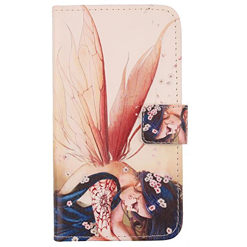 Lankashi Housse Cuir Etui Coque Case Cover Protection Flip pour SFR STARTRAIL 5 v Wing Girl Design