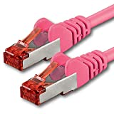 1m - magenta - 1 pièce - CAT6 Câble Ethernet - Câble Réseau RJ45 | 10 / 100 / 1000 Mo/s | câble de Patch | LAN Câble |CAT 6 | S-FTP | double blindage | PIMF | 250 MHz | sans halogène | compatible avec CAT 5 / CAT 6a / CAT 7 | pour le switch, routeur, modem, Patchpannel, point d'accès, panneaux de brassage