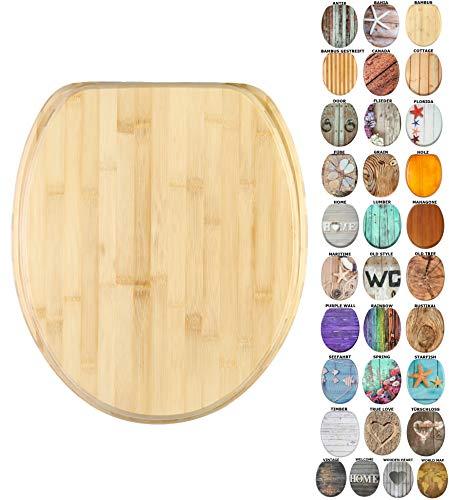 WC Sitz mit Absenkautomatik, viele schöne Holz WC Sitze zur Auswahl, hochwertige und stabile Qualität (Bambus)