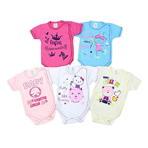 Baby Wickelbody mit Aufdruck Spruch Kurzarm-Body Mädchen Babybody Jungen im 5er Pack, Farbe: Mädchen, Größe: 62