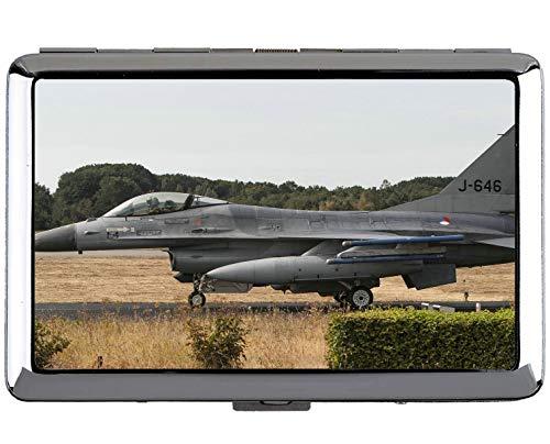 Silber Edelstahl Zigarettenetui, Flying Jet Military Fighter Professionelle Visitenkartenetui -