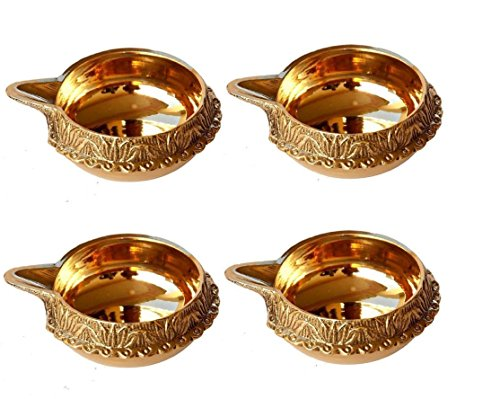 DreamKraft Brass Diwali Kuber Deepak (Diya Oil Lamp) for Puja Home Décor (Set of 4)