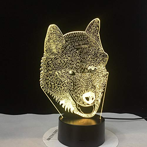 KangYD Husky Dog 3D Lampe, LED Nachtlichter, optische Täuschungslampe, Kindergeschenk, Touch 7 Farbe (schwarzer Sockel),Atmosphärenlampe