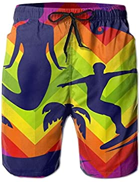 Mermaid Surf Waves Men's/Boys Casual Shorts Swim Trunks Swimwear Elastic Waist Beach Pants with Pockets