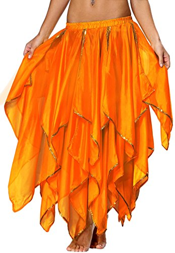 Chiffon Rock Bauchtanz Kostüm Damen Orange
