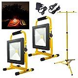 Hengda® 2x50W Gelb Warmweiß LED AKKU Strahler Fluter Campinglampe Nachtfischen nächtliche Notreparaturen bei KFZ Werkstatt Baustrahler Handlampen mit Stativ
