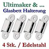 4x UM Glasplatten Halterung Klammer Edelstahl Klip