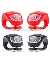 Set di 4 Luce Bicicletta, ZeWoo LED Luci Bici, Illuminazione Bicicletta Set Impermeabile - Non Ricaricabile, Batterie incluse