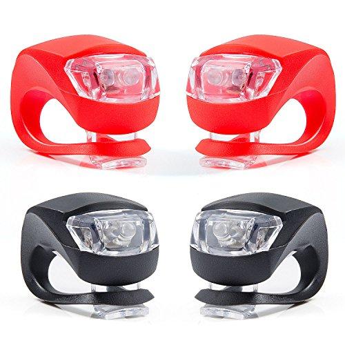 Set di 4 Luce Bicicletta, ZeWoo LED Luci Bici, Illuminazione Bicicletta Set Impermeabile - Non Ricaricabile, Batterie inclus