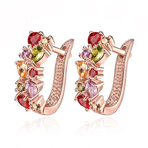 hiixhc Rose Gold Plated Design of Zircon Clip Earrings with Rose Gold Color Gemstones for Women Jewelry