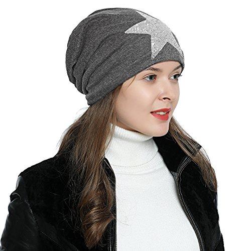 Imagen de dondon mujer gorro de invierno con estrella plata paillettes estrella e forro interior suave  gris