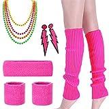 80er Jahre Kostüm Zubehör - Damen 80er Party kostüm Zubehör Kunststoff Neon Halsketten Stirnband Beinlinge Perlen Halsketten und Armbänder Fischnetz Handschuhe für Mädchen Frauen Night Out Party