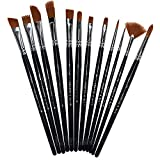 #6: Chitrakala Paint Brushes 12 Set Professional Paint Brush Round Pointed Tip Nylon Hair Artist Acrylic Brush for Acrylic Watercolor Oil Painting