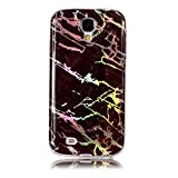 MoreChioce Hülle kompatibel mit Galaxy S4,Silikon Hülle kompatibel mit Samsung Galaxy S4, Farbverlauf Braun Bling Glitzer Glanz Marmor Handyhülle Stoßfest Bumper Strass Transparent TPU Tasche