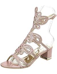 Ital-Design High Heel Sandaletten Damenschuhe Pump Riemchen Schnalle Sandalen