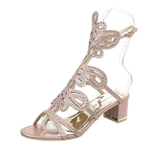 Ital-Design High Heel Sandaletten Damen-Schuhe Pump Riemchen Schnalle Sandalen Champagner, Gr 41, Jc-176-