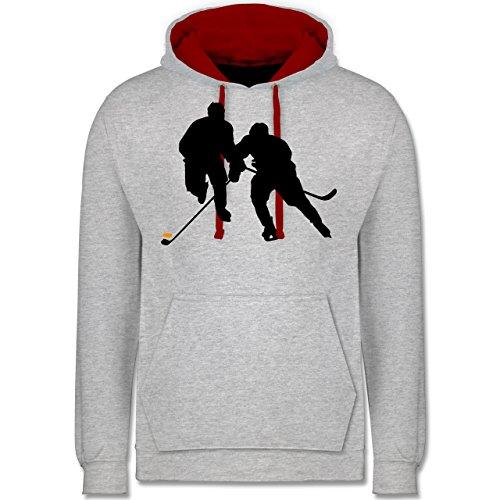 Shirtracer Eishockey - Eishockeyspieler - S - Grau meliert/Rot - JH003 - Kontrast Hoodie