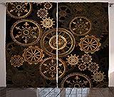 ABAKUHAUS Steampunk Panneaux de Rideaux, Roues De Teinte Foncée, Ensemble de Deux...