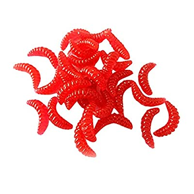 Firlar 20PCS Night Glow Soft Maggot Red,Grub Worms Fishing Lures Baits 20mm Noctilucent Crankbait Tackle Tiddler Bait Tackle Spinner Luminous Crank-Bait Lure from Firlar