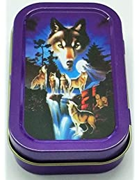 1oz Hinged Lid Tobacco Tin/Pocket Tin/Stash Can/Storage Case in various designs by Trendz (Wolf)