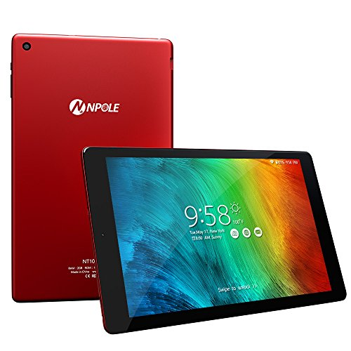 NPOLE Android Tablet 10,1 Zoll Tablet Metallschale 2GB RAM 16GB ROM Android 6.0 Dual Kamera 2 MP und 5 MP HD 1280x800 IPS Display 2,4G / 5G Wi-Fi Bluetooth 4.0 GPS 2017 neue Version (Rot)