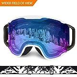 WLZP Skibrille, Snow Sports Goggles für Snowboard Snowmobile Skate Motorrad Reiten, staubdicht Kratzfest, Double Anti Fog UV400 OTG Over Brille Helm Kompatibel für Männer Frauen Jugend Unisex