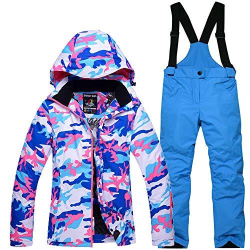 Ccsluo Kinderschneeanzug, Sets Snowboard Wasserdichten Outdoor-Sportbekleidung Ski-Mantel und Gurt Schneehose für Kinder (Kostüm Ski Xxl)