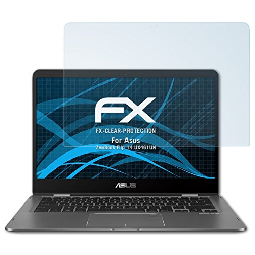atFolix Schutzfolie kompatibel mit Asus ZenBook Flip 14 UX461UN Folie, ultraklare FX Displayschutzfolie (2X)