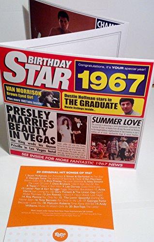 1967 Birthday Gifts 1967 Chart Hits Cd And 1967 Birthday Card