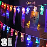 Led Fotoclips Lichterkette, Led Lichterkette, 6m/40 Foto Clips Lichterkette, 8 Mode Fernbedienung LED Batteriebetriebene Dekoration Lichterkette für Hängendes Foto, Party, Weihnacht (Mehrfarben)