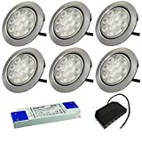6 Stück | LED Möbelstrahler Leonie | 12Volt | 3Watt | Kabel mit Mini Stecker | Mini Verteiler | LED Trafo | 230V Zuleitung
