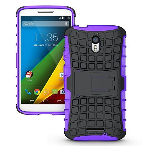 Chevron Hybrid Military Grade Armor Kick Stand Back Cover Case for Moto X Play (Purple)  available at amazon for Rs.99