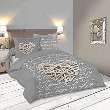 lovely casa woodlove housse de couette coton gris 260x240 cm - Parure De Lit 240x260