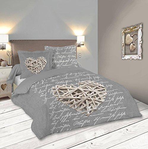 Lovely Casa Woodlove Housse de Couette, Coton, Gris, 240×220 cm
