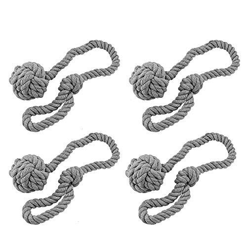 BUZIFU Handgestrickte Vorhang Raffhalter, Gardinenhalter Vorhanghalter für Gardinen, 2 Paar, Grau