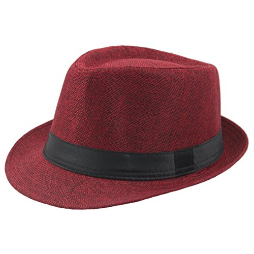 Coucoland Panama Hut Mafia Gangster Herren Fedora Trilby Bogart Hut Herren 1920s Gatsby Kostüm Accessoires (Rot)