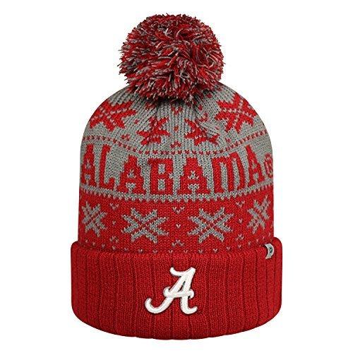 Alabama Crimson Tide Subarctic Cuffed Pom Knit Beanie Hat / Cap by Top of the World - Crimson Knit Beanie