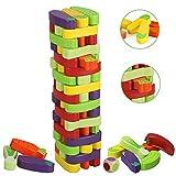 BeebeeRun Gioco della Torre Legno, 55 Pezzi Torre Impilabile Gioco da Tavolo, Gioco a Torre per Ragazzi di 3 Anni, Gioco di Famiglia